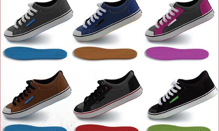 Skoene har såler i forskellige pangfarver. Foto: Zhik