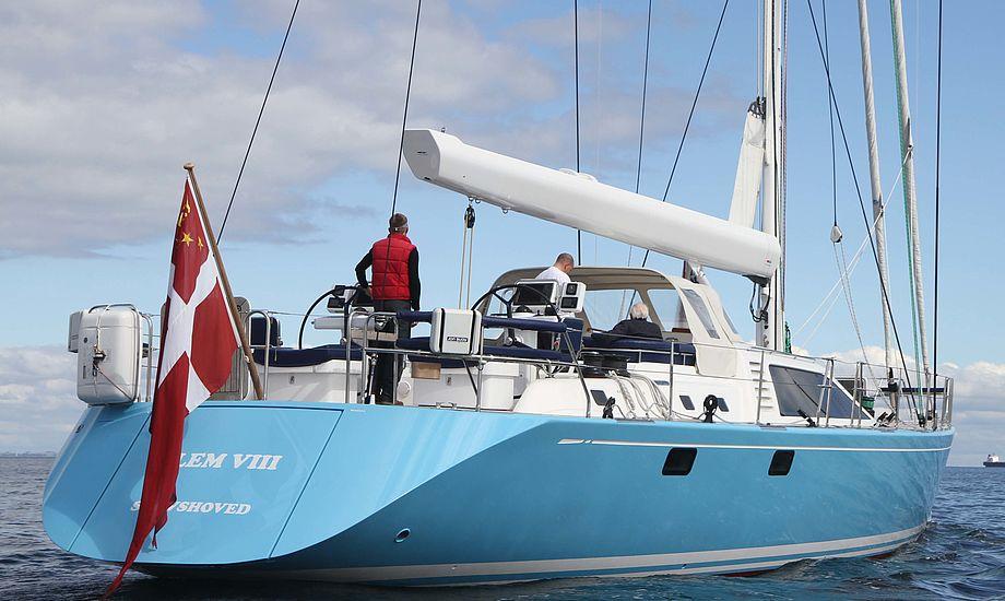 Hr. Møller under sejlads i september sidste år. Båden var en standardudgave til 50-60 mio. kroner. Foto: Troels Lykke