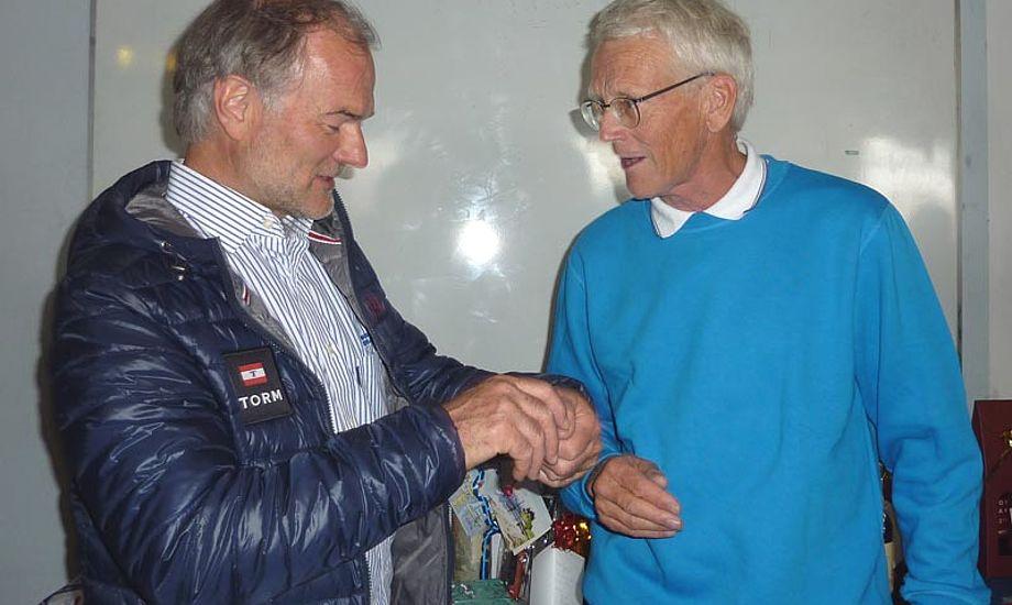 Dan Ibsen, tv., mødte op til Jørgen Rings afskedsreception forleden, hvor trænerlegenden forlod KDY. Foto: Katrine Bertelsen