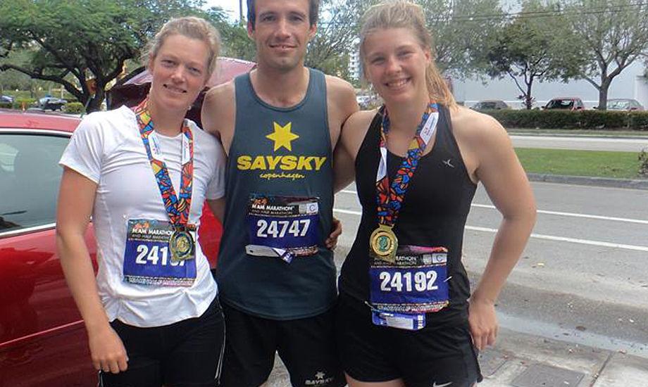 Maiken, Jonas og Marie før løbet startede i Miami.
