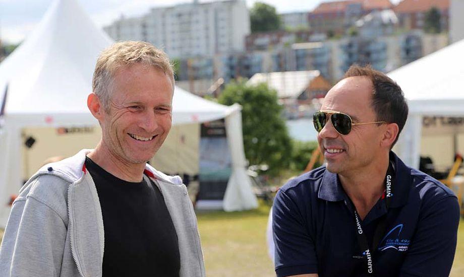 Formand for Dansk Sejlunion, Hans Natorp, tv. og Thomas Capitani håber det store prestige-VM kommer til Aarhus. Foto: Troels Lykke