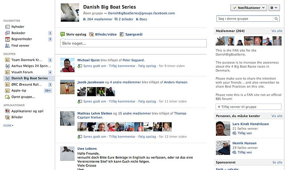 Danish Big Boat Series er kommet godt i gang på Facebook.