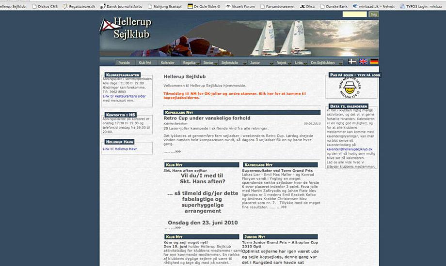Hellerup Sejlklubs hjemmeside, skærmdump