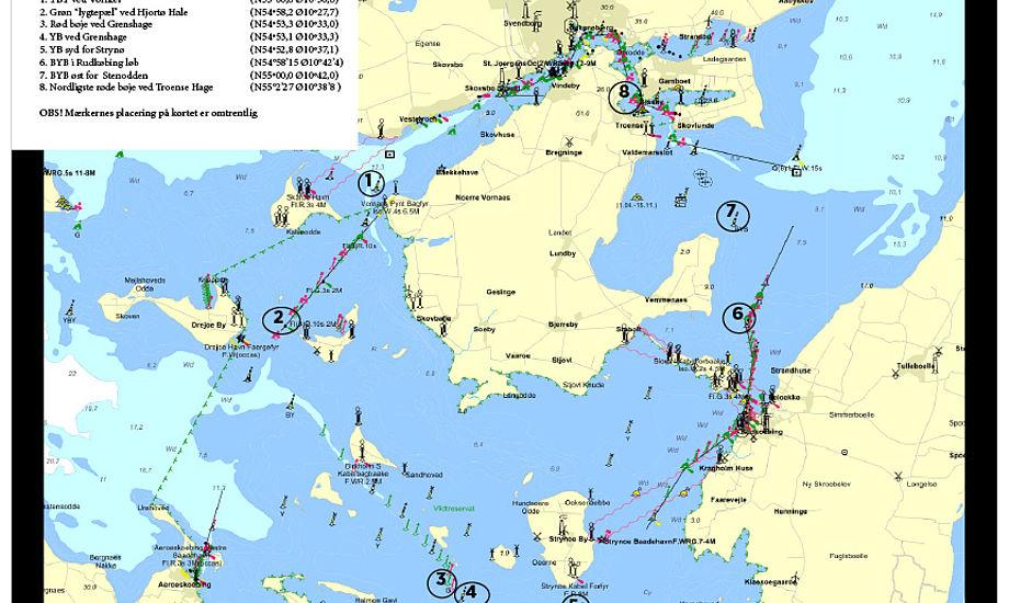 Der sejles rundt om de fem øer Tåsinge, Siø, Strynø, Birkholm og Hjortø.