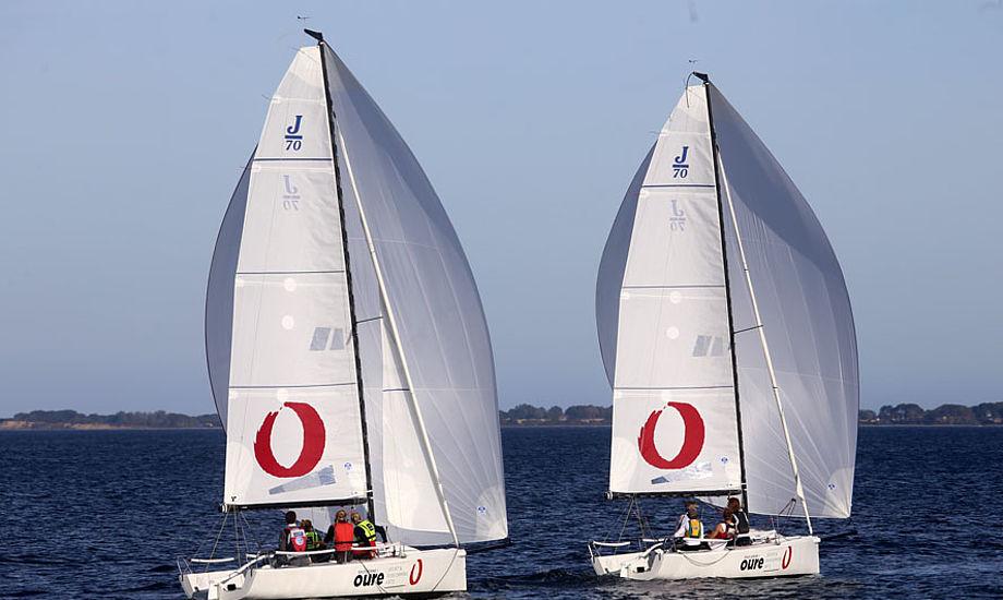 Eleverne på Oure Kostgymnasium vil blive en del af Oure Team J70, der har for mål at konkurrere med de bedste sejlere i 1. Division. Her trænes i Lundeborg i Oures to nye J/70ere. Foto: Troels Lykke