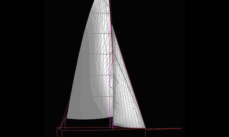 Sejlene til Elvstrøm 717. Tegninger fra Quantum Sails