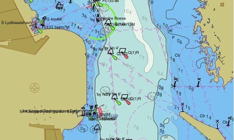 Kort fra Seapilot over samme område som Iq-kortet nederst i artiklen. Her står, modsat Iq-kortet, ikke noget om Drogden. Foto: Bøje Larsen