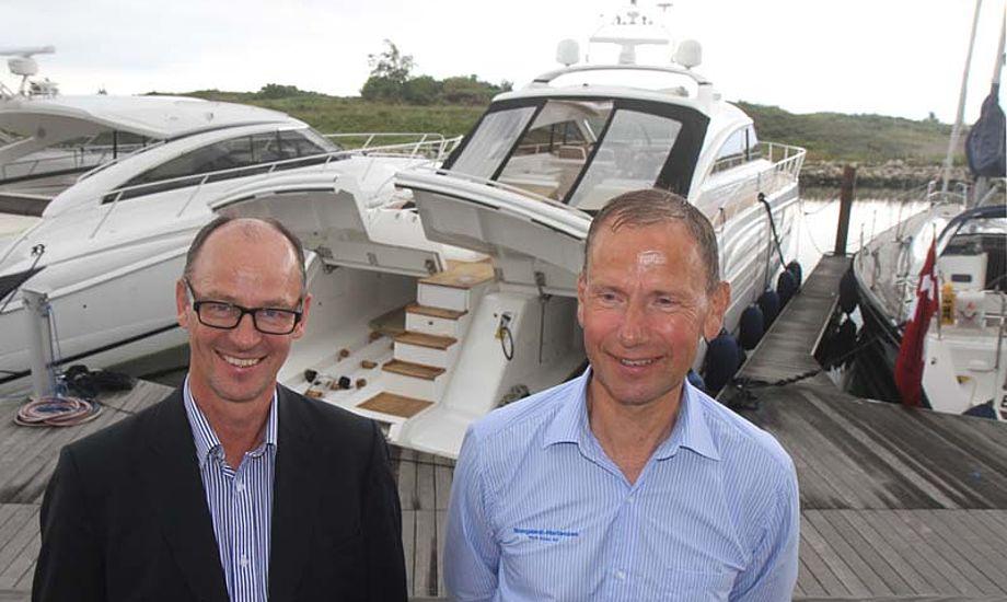 Peter Vinther fra Princess, tv., og Ove Skovgaard-Mortensen fra Arcona havde flere hundrede besøgende i Hundige Havn. Foto: Troels Lykke