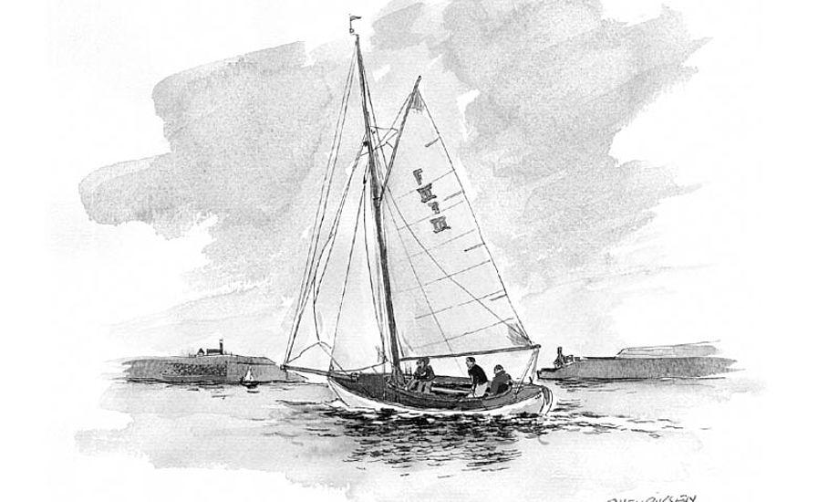 Tegning af en af skolebådene, fra sejlerskolens undervisningsmateriale.