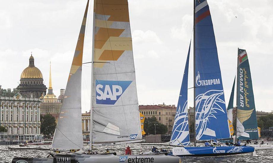 Vejret byder på let vind og stærk strøm de næste dage i St. Petersborg. Foto: extremesailingseries.com