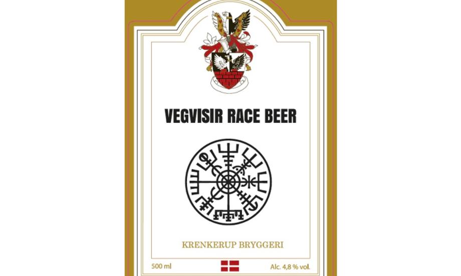 Etiketten, der får sin faste plads på alle de nye Vegvisir Race-øl. Brygningen starter i starten af august. Grafik: Vegvisir Race