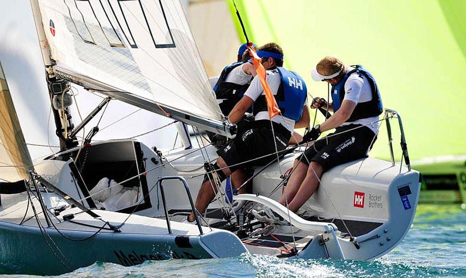 Vindforholdene var lidt tricky på Gardasøen til VM for Melges 24. Foto: pierrickcontin.fr/IMCA