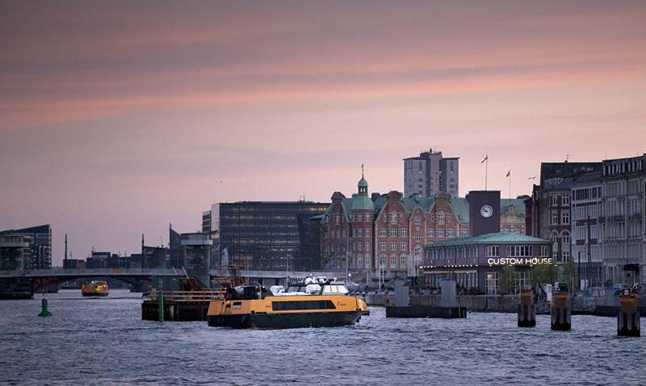 Aftenstemning i Københavns havn, uden fartsyndere. Foto: visitdenmark.dk