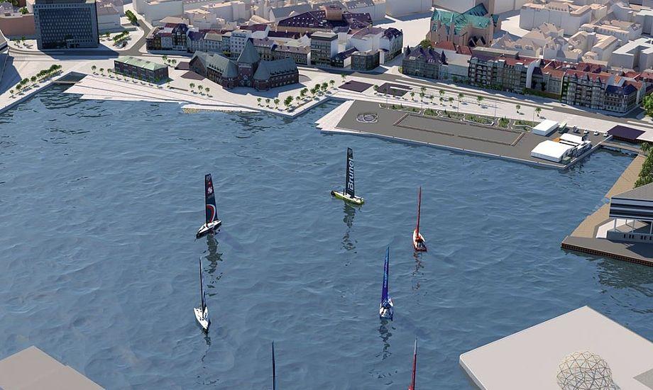 Så tæt på Aarhus kommer Volvo-bådene på deres sidste ben mod Haag. Foto: AarhusGuiden