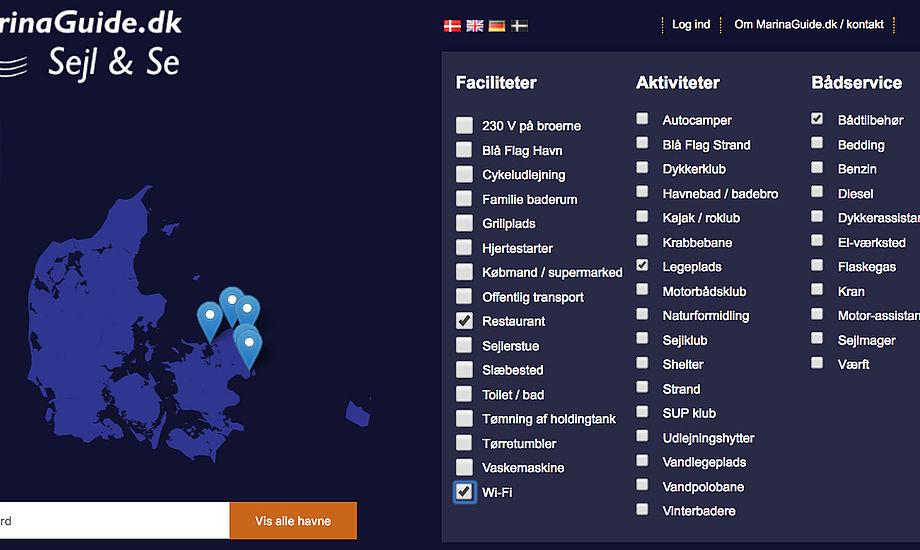 Her er de pt. 44 forskellige valgmuligheder, som er i MarinaGuide.dk's nye søgeportal. Også andre brugergrupper end sejlere kan have glæde af søgemulighederne.