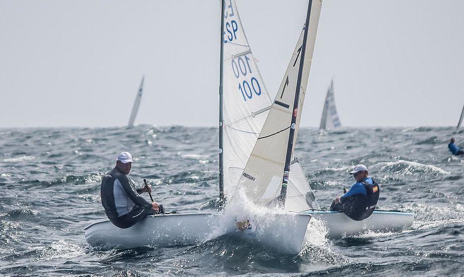 I Barbados kæmper sejlerne netop nu i 28 grader varmt vand, hvilket næppe bliver tilfældet til mesterskabet på dansk jord. Foto: Claire ADB