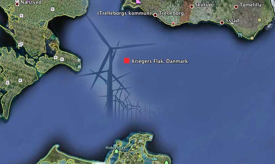 Vanddybden ved Kriegers flak er mellem 15-20 meter, og ligger ikke umiddelbart på nogle sejlruter.