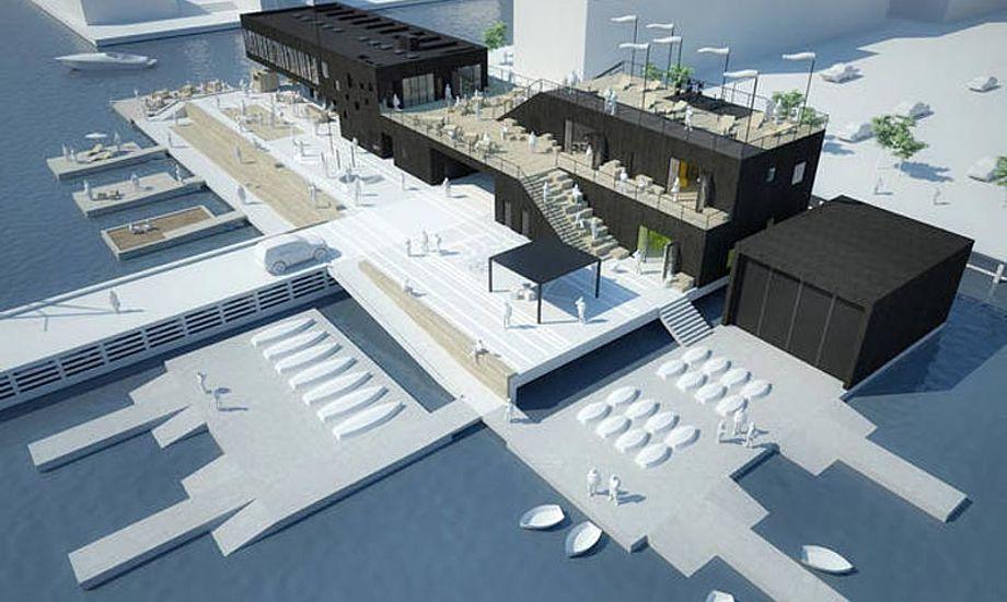 Den nye klubø kommer til at ligge længere mod nord end det nuværende klubområde på lystbådehavnen. Billede fra prospektet.