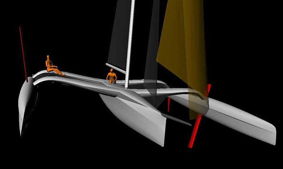1500 kilo vejer skroget. Jonas Pedersen fra Tuco håber, at båden kan sejle rundt om Fyn på under 10 timer.