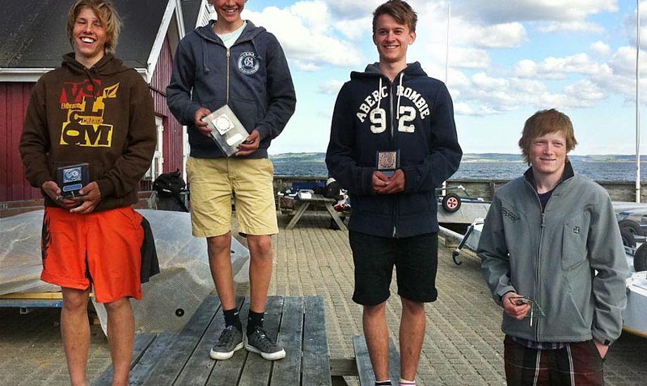 Frederik Rask, øverst, vandt Sparekassen Kronjylland Cup foran Tobias Hemdorff (tv).  David M. Sander blev nr. 3 og Mathias Livbjerg (th) fik 4. pladsen. Foto: europeclass.dk