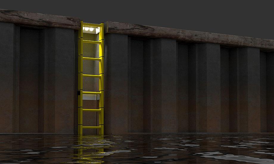 LifeLadder er oplyst af LED-lys om natten for at gøre den mere synlig. Foto: Port Safety.