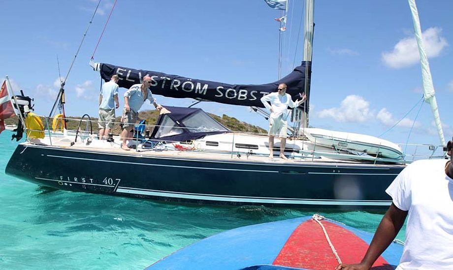 Tobago Cays i Caribien. Fra venstre: Jens, Troels og Jens Peter. Foto: Simon