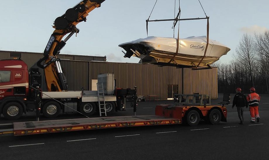Chris Craft 28eren landede torsdag i Frederica. Foto: Tempo Bådsalg