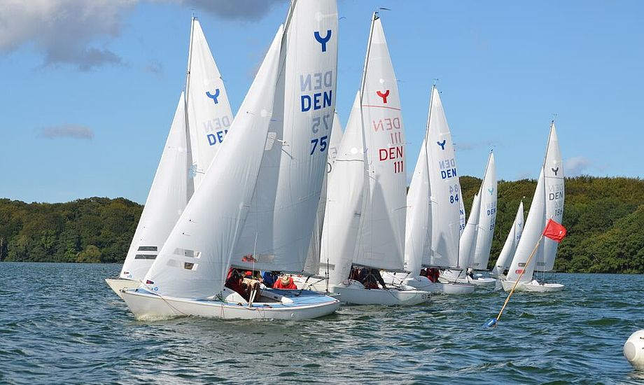 Efter de første 5 sejladser fører DEN 111 med Jørgen Ring, Jens Zacho og Cameron Larsen, fra Taarbæk Sejlkub. Foto: Farum Sejlklub