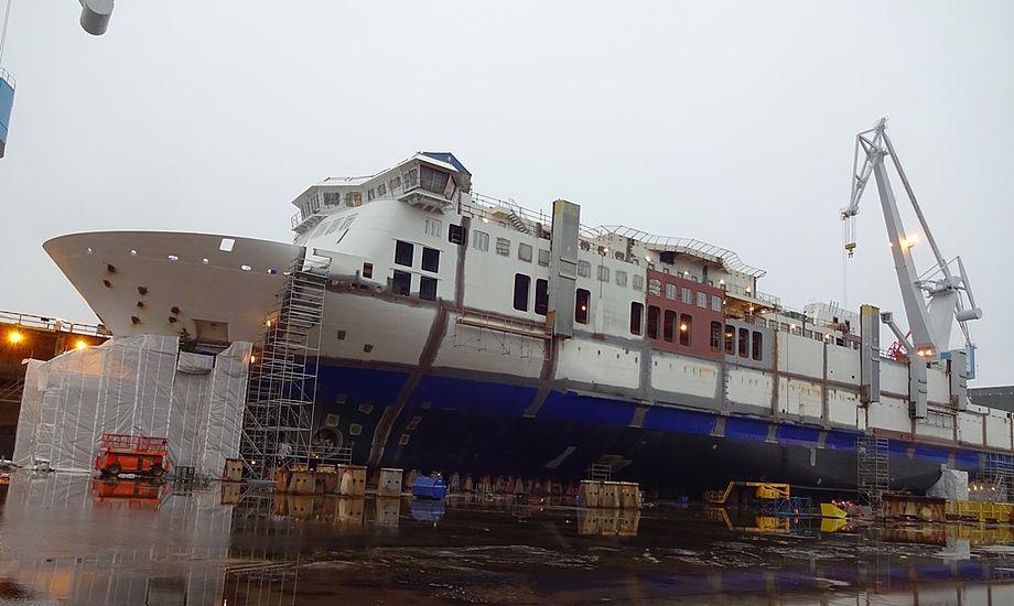 Hammershus overtages på Rauma-værftet i Finland 27. juni 2018, hvorefter den sejles hjem til Danmark. PR-foto.