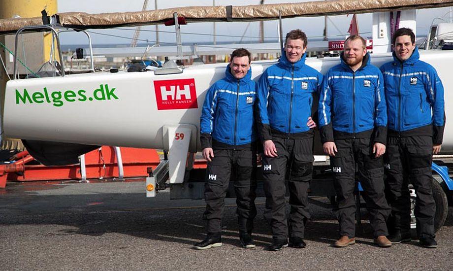 De fire sejlere i Melges.dk Sailing Team har trådt deres barnesko i Frederikshavn Sejlklub, og har gennem tiden deltaget i talrige internationale mesterskaber. Foto: Melges.dk Sailing Team
