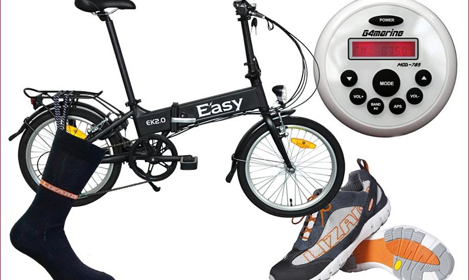 Vandtætte sokker, sejlersko med dræn i sålen, en el-cykel og fed lille MP 3 radio.