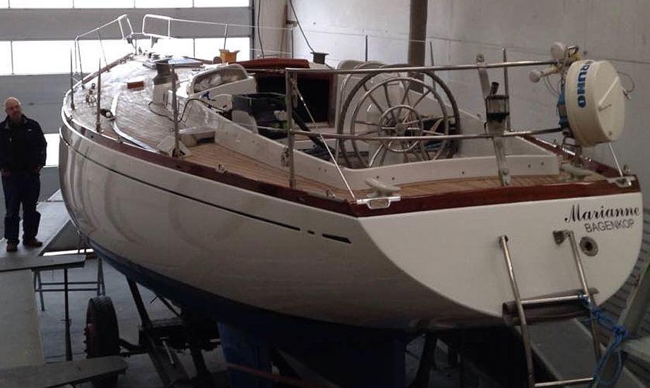 Jens og Marianne Thoby nåede stort set ikke at sejle i 2017-sæsonen, hvor deres Swan 43 i stedet stod på værft. Foto: Privatfoto