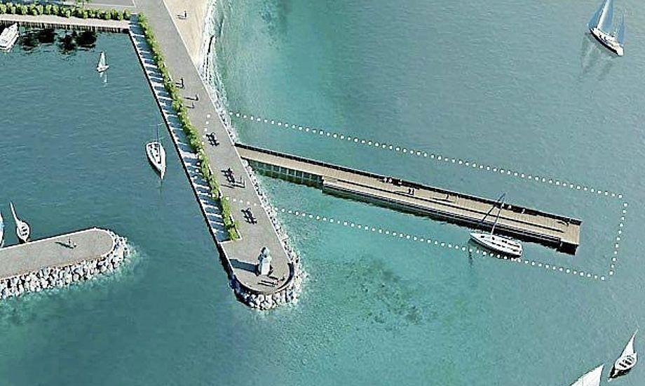 Den nye høfde ud for Hellerup Havn bliver ca. 60 meter lang. Foto: By & Havn/Kbh. Kommune