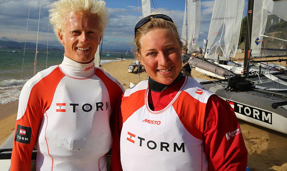Martin Hjortlund og Anette Viborg ses her under Nacra17-VM i Santander i September. Foto: Troels Lykke