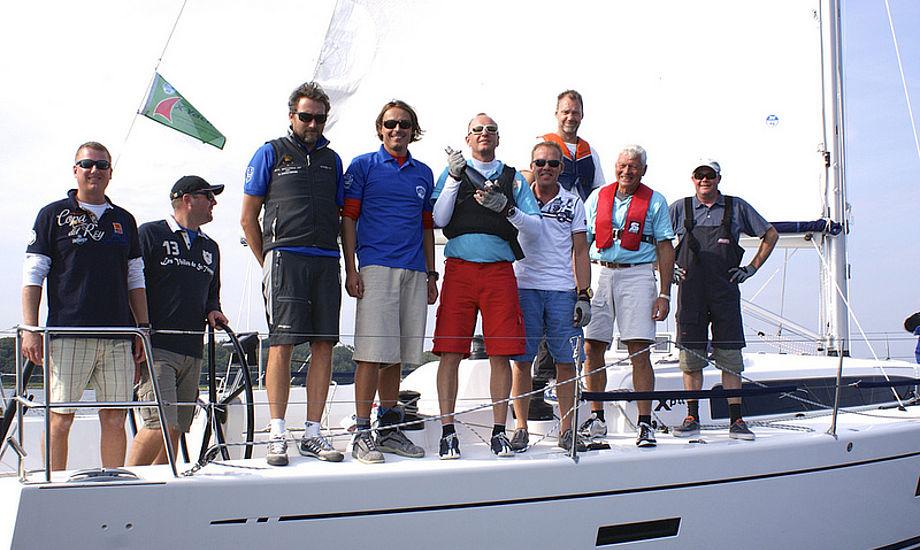 Xp 44 vinderne fra Brejning Bådklub. Mads Christensen fra North Sails kørte taktikken, gætter vi på. Foto: Rune Drasbæk Dorow