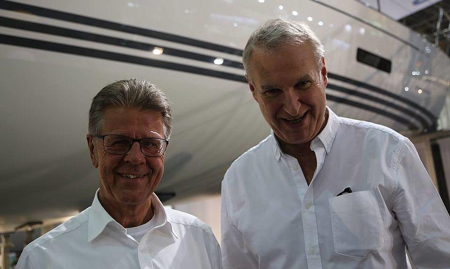 De to ejere af X-Yachts, hovedaktionær Ib Kunøe og aktionær og CEO og designer fra værftet Niels Jeppesen, satser stort på Boot i Düsseldorf. Foto: Troels Lykke