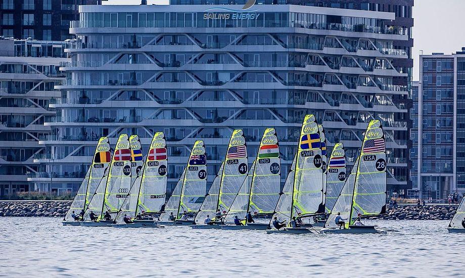 Flere af verdens dygtigste sejlere er til start på Aarhusbugten under testeventen. Foto: Jesús Renedo / Aarhus Sailing Week