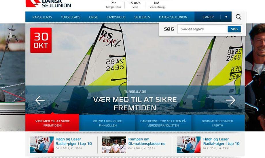 Vi har ikke set den nye hjemmeside endnu, men vi har fået grafikerens bud på en forside. Grafik: Dansk Sejlunion