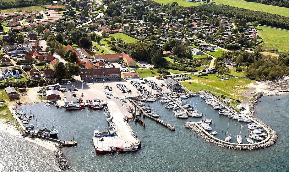 Det var her i Snaptun Lystbådehavn, at to sejlere foretog en civil anholdelse. Foto: visitjuelsminde.dk