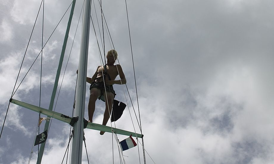 Skipper Christian i masten i gang med at skifte bakstag inden afgang fra St. Martin. Foto: Cille Rosentoft.