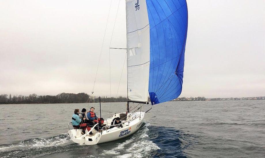 J/70'eren er, ifølge Dansk Sejlunion, fremtidens klubbåd. Foto: Thurø Sejlklub