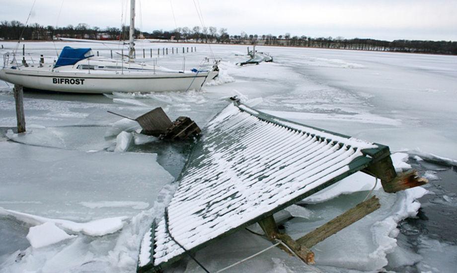 """Så slemt ser det ud i Præstø for tiden. """"Man kan da med rette sige, at Bifrost er kommet til landet,"""" siger Michael Jespersen fra Præstø. Foto: psk.dk"""
