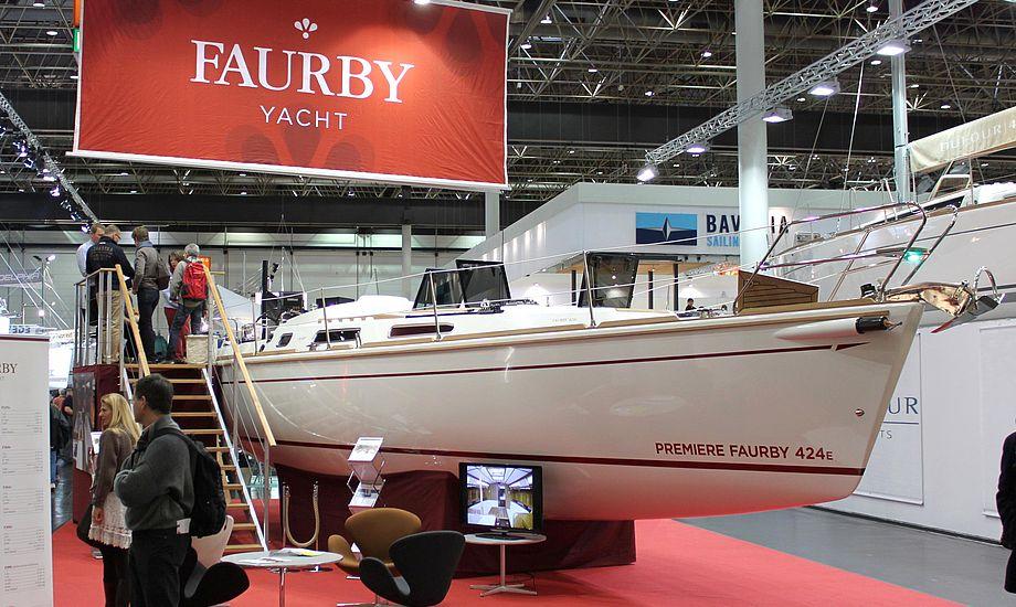 Den nye Faurby 424E på bådmessen i Düsseldorf. Foto: Faurby