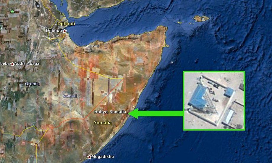 På Google Earth ses det nye radiotårn tydeligt.