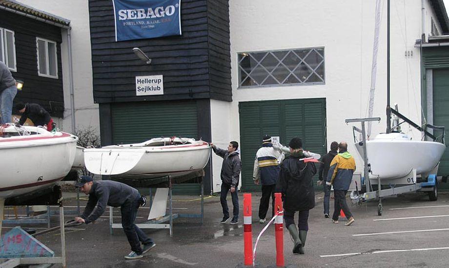 En flok frivillige tager Hellerup Sejlklubs både op for vinteren. Foto: Katrine Bertelsen