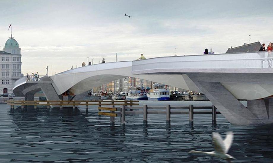 Den nye bro over Inderhavnen kommer til at hedde 'Inderhavnsbroen'. - Foto: Studio Bednarki / Københavns Kommune