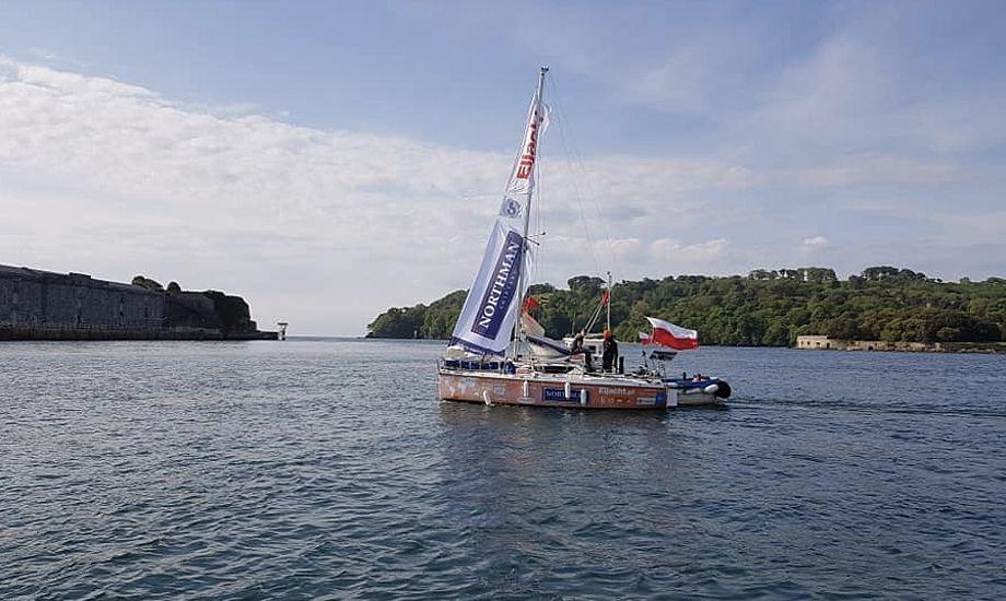 Den erfarne, 37-årige sejler ankommer her til England. Foto: Mayflower Marina