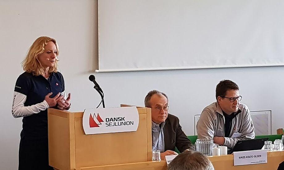 Line Markert, tv., ses her til generalforsamling i år i Nyborg, hvor Mads Kolte-Olsen ses til højre. Det blev deres sidste generalforsamling sammen. Foto: Troels Lykke