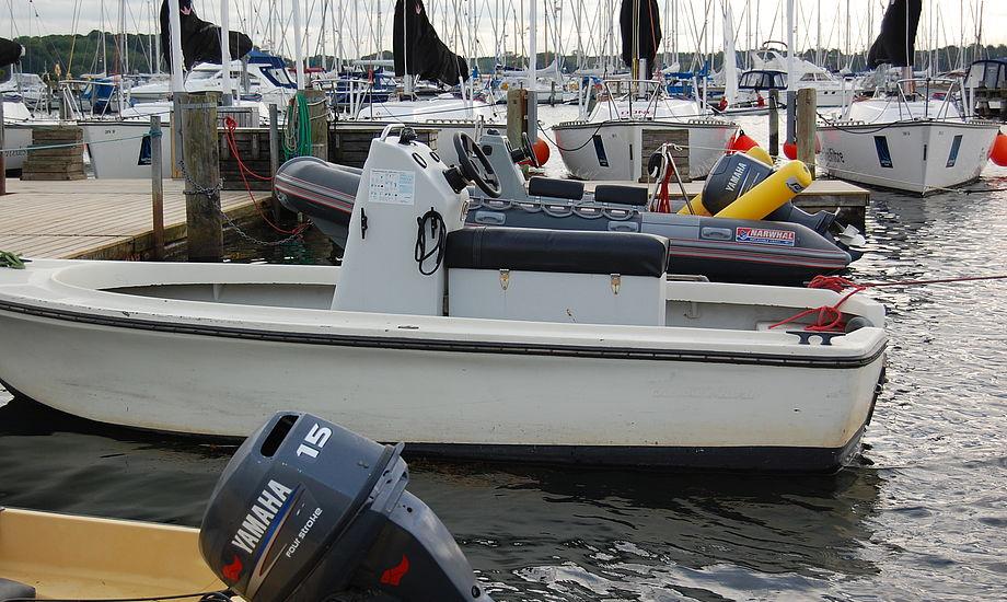 Her er det en trænerbåd i middelfart det er gået ud over. Læg mærke til den manglende motor. Foto: Rasmus Antoft