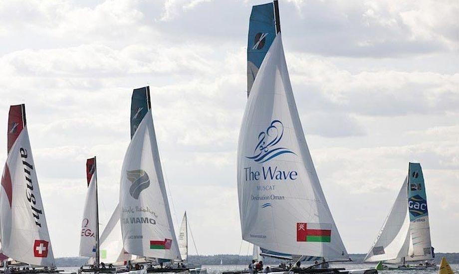 Groupe Edmond de Rothschild er førende båd i den samlede stilling. Foto: extremesailingseries.com